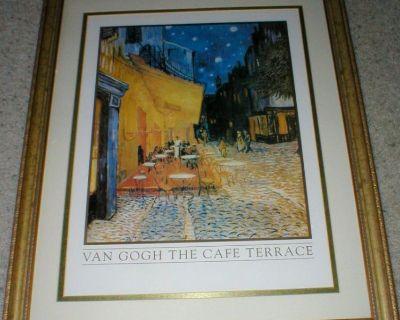 """Vincent Van Gogh Art Print """"The Cafe Terrace"""" Paris - Antique Gold Frame"""