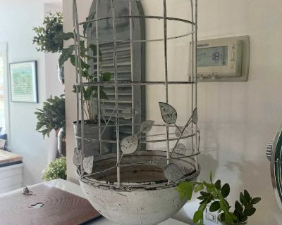 Bird cage, used as a plant holder