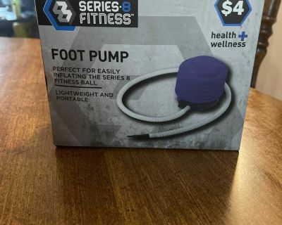 Foot pump for exercise ball