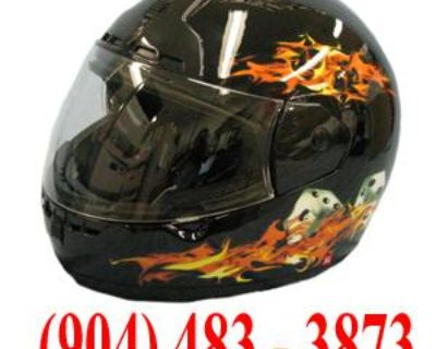 Max603 Black Flames Full Face Motorcycle Helmet X-small