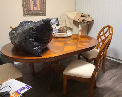 Solid wood table with leaf & 4 chairs from Havertys