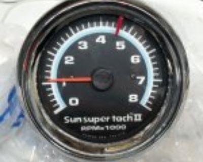 Vintage Sun Super Tach II 8,000 RPM Blue Line Tachometer GM FORD MOPAR