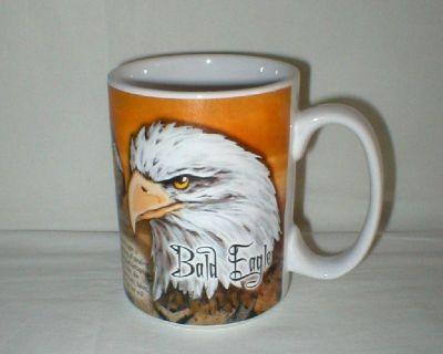 "Bald Eagle Coffee Mug Cup - History on Back - Wildlife - 4 3/4"" Tall"