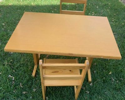 Free. Sturdy and loved kids little table and chairs. Need gone today. In Stonegate. N