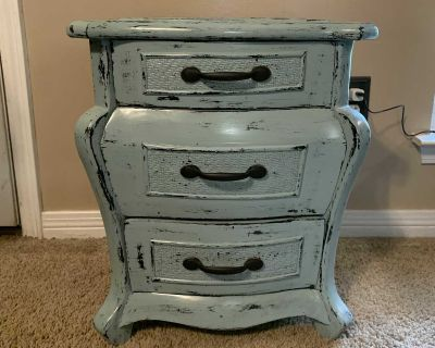Blue Distressed 3 Drawer Nightstand