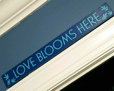 """""""Love Blooms Here"""" Wood Block Home Decor"""