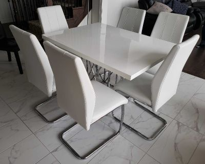 $700 SET - White Table & 6 Chairs with Silver Legs (OR BUY SEPARATELY)