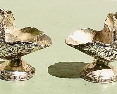 DEAL! ~ 2 Vintage Silver-Plated Matching Sugar Scuttles with the Spoons.