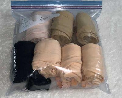 7 pairs of dance tights, medium adult, vguc/EUC 6 convertible foot, 1 not
