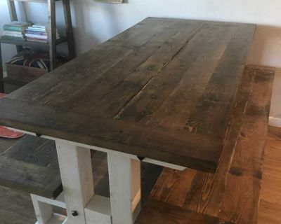 Hand made table and 2 benches