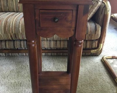 Wood Table with Drawer and Shelf