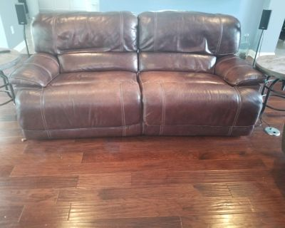 Free brown leather reclining couch