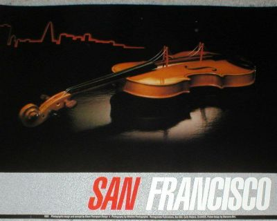 San Francisco Photographic Wall Art Poster Violin with String Bridge