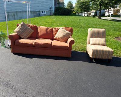 Sofa and armless chair