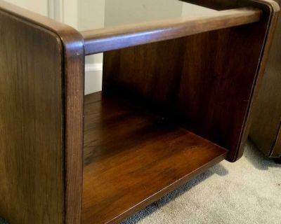 SOLID WOOD SIDE OR END TABLES WITH GLASS TOPS