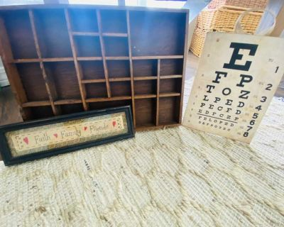 Vintage typewriter tray, embroidered sign and vintage inspired eye chart.