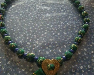 Long Handmade Necklace with Southwestern Fabric Covered Beads w/ Heart Shape Pendant!