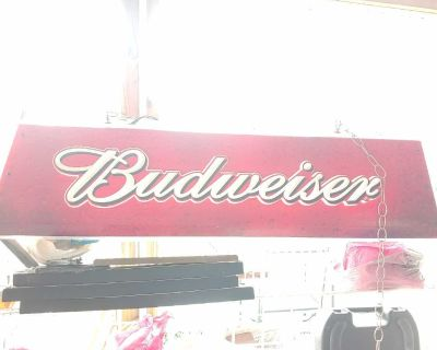 Budweiser beer sign for over pool table