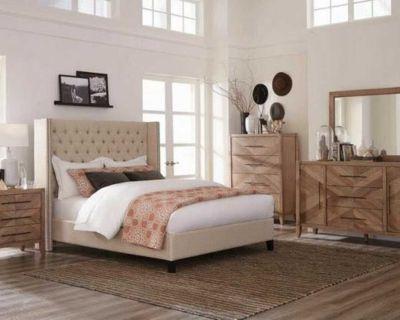 Beige Demi-Wing Back California King Bed (No Mattress)