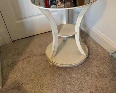 Distressed mirrored side table/nightstand