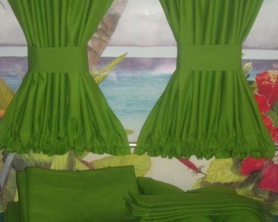 VW Bus Green Curtains Fits Bay Window Models