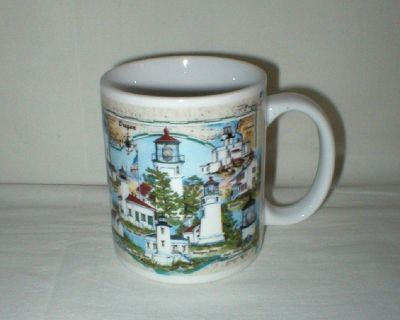 Great American Lighthouses  - Lights of Oregon Coffee Mug Cup - Donna Elias