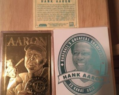 *** HANK AARON 1996 Bleachers 23kt Gold Card with C.O.A.***