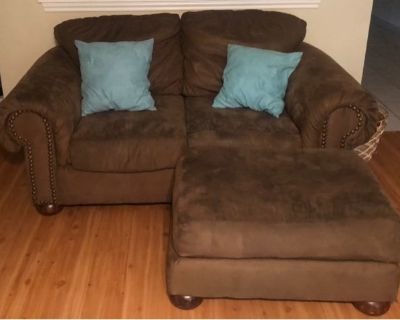 Couch, loveseat and ottoman.