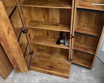 Wooden bookcase and wooden storage bookcase