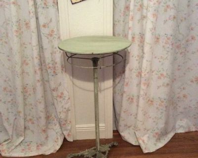Antique bird cage stand converted to side table