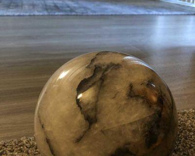 Massive 13lbs quartz / tourmaline sphere