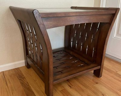 Wooden/Woven End Table