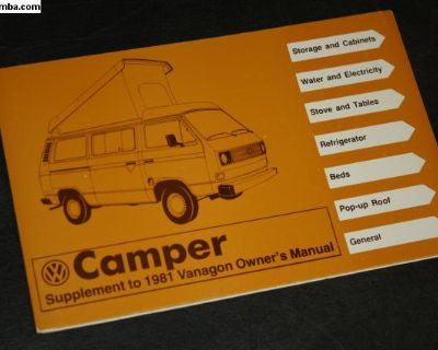 NOS 1981 SUPPLEMENT Camper Vanagon Campmobile
