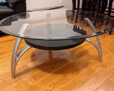 Glass Top Coffee Table with Two Glass Top Matching Side Tables- MUST GO BEFORE FRIDAY SEPT 24