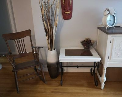 2 Wood and iron end tables