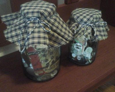 Antique Blue Ball Mason Jars With Vintage Buttons & Sewing Items made/Assembled by Crafter