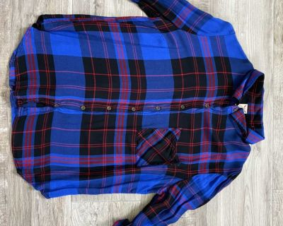 Faded Glory plaid button down shirt. Size large (12-14)