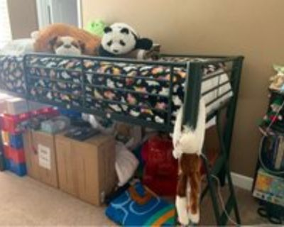 boys bunk bed with twin mattress and attached ladder