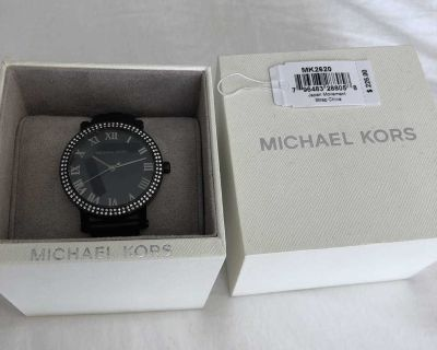 Michael Kors Women's Norie Black Quilted Leather Strap Watch MK2620