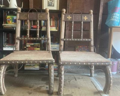 2 Antique Vintage imported Moroccan Chairs
