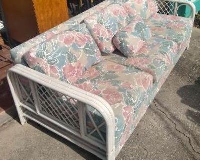 Nice Comfortable Floral / Rattan Sofa!
