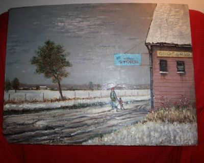 """A real Matthew Lasinski Oil Painting """"COUNTRY STORE"""""""