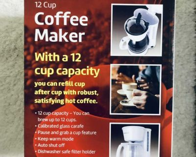 NEW IN BOX COFFEE MAKER 12 CUP CAPACITY