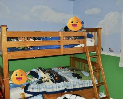 Solid Wood Bunk Bed with Storage Drawers & Ladder, Twin Mattress & Box Spring
