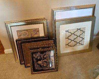 Estate Sale with prints, bedroom sets, nightstands, couch, side table, end table, lamps, sofa table