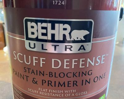 BEHR ULTRA SCUFF DEFENSE Interior Extra Durable Flat Paint & Primer in Deep Base, 3.79 L. Grey as shown on lid