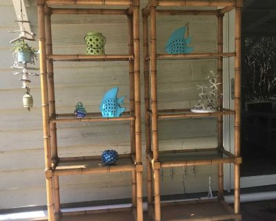 Bamboo and Glass Bookcases