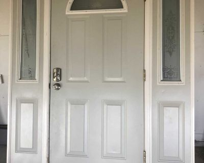 36 entry door with two side lights.