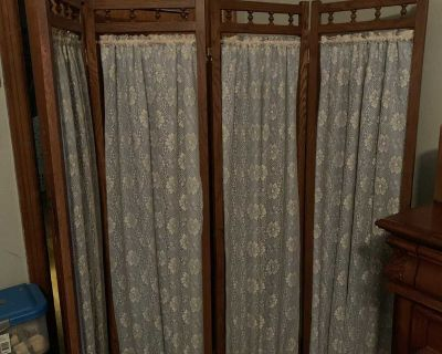 Antique dressing screen white lace and blue backing material