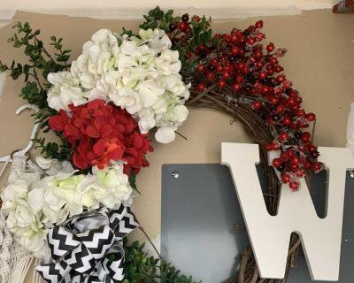 W initial Front Door Wreath